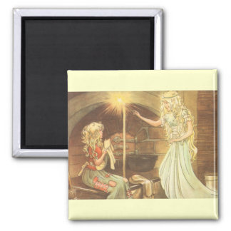 Vintage Fairy Tale, Cinderella and Fairy Godmother Square Magnet