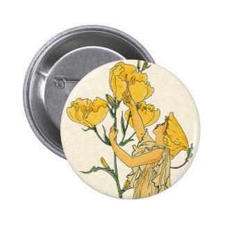 Vintage Fairy Tale, Evening Primrose, Walter Crane 2 Inch Round Button