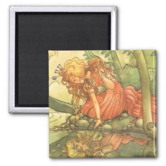 Vintage Fairy Tale, Frog Prince Princess by Pond Square Magnet