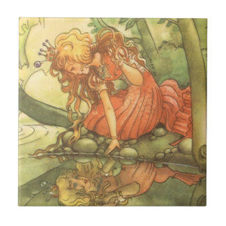 Vintage Fairy Tale, Frog Prince Princess by Pond Tile