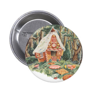 Vintage Fairy Tale, Hansel and Gretel Candy House 2 Inch Round Button