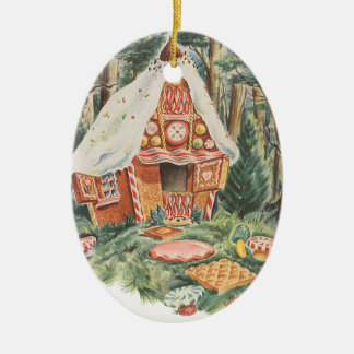Vintage Fairy Tale, Hansel and Gretel Candy House Ceramic Ornament