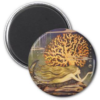Vintage Fairy Tale, Little Mermaid in Ocean Coral 2 Inch Round Magnet