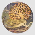 Vintage Fairy Tale, Little Mermaid in Ocean Coral Classic Round Sticker