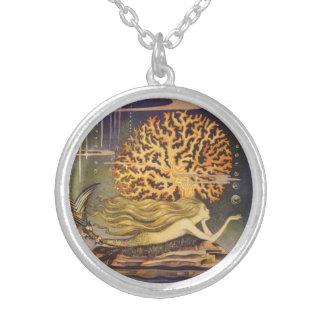 Vintage Fairy Tale, Little Mermaid in Ocean Coral Pendant