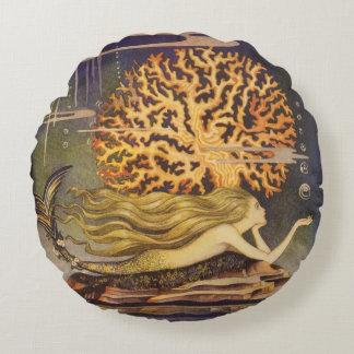 Vintage Fairy Tale, Little Mermaid in Ocean Coral Round Pillow