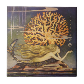 Vintage Fairy Tale, Little Mermaid in Ocean Coral Tile
