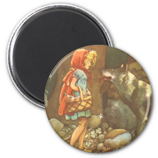 Vintage Fairy Tale, Little Red Riding Hood 2 Inch Round Magnet
