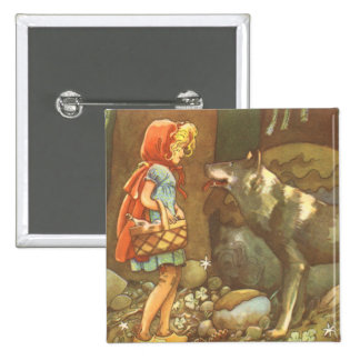 Vintage Fairy Tale, Little Red Riding Hood 2 Inch Square Button