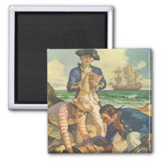 Vintage Fairy Tale Pirates, Treasure Island Square Magnet