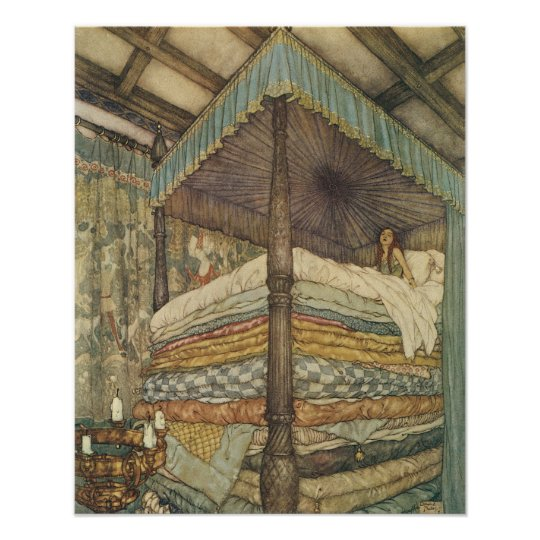 Vintage Fairy Tale, Princess and Pea, Edmund Dulac Poster