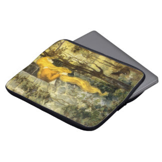 Vintage Fairy Tale, Rapunzel with Long Blonde Hair Laptop Sleeve