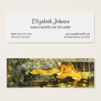 Vintage Fairy Tale, Rapunzel with Long Blonde Hair Mini Business Card