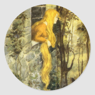Vintage Fairy Tale, Rapunzel with Long Blonde Hair Round Sticker