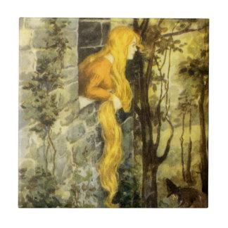 Vintage Fairy Tale, Rapunzel with Long Blonde Hair Tiles