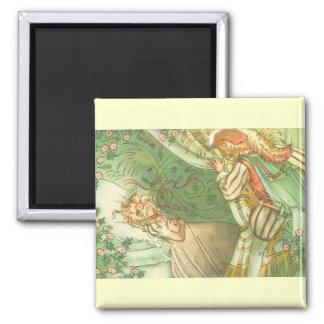 Vintage Fairy Tale, Sleeping Beauty Princess Square Magnet