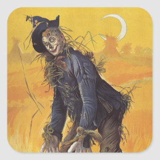 Vintage Fairy Tale, the Wizard of Oz Scarecrow Square Stickers