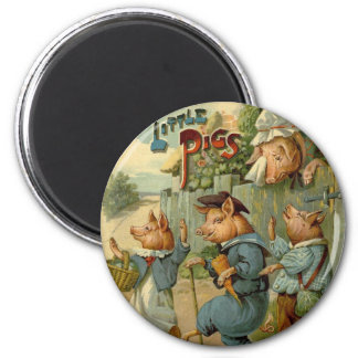 Vintage Fairy Tale, Three Little Pigs 2 Inch Round Magnet
