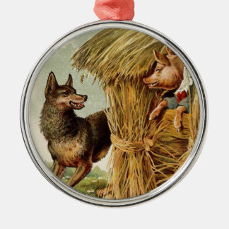 Vintage Fairy Tale, Three Little Pigs and Wolf Metal Ornament