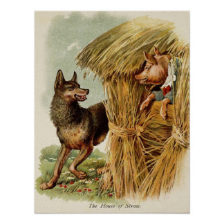 Vintage Fairy Tale, Three Little Pigs and Wolf Poster