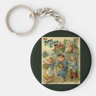 Vintage Fairy Tale, Three Little Pigs Keychain