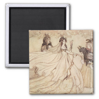 Vintage Fairy Tales, Cinderella by Arthur Rackham Square Magnet