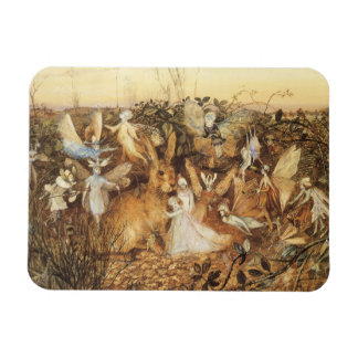 Vintage Fairy Tales, Rabbit Among the Fairies Rectangular Photo Magnet