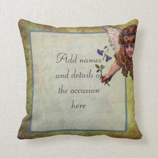 Vintage fairy themed personalized throw pillow