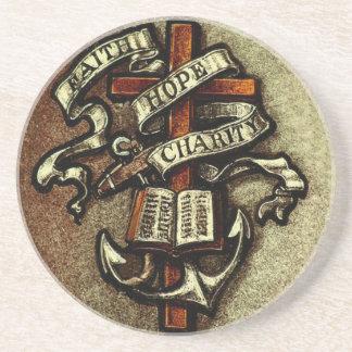 Vintage Faith Hope and Charity Symbol Coaster