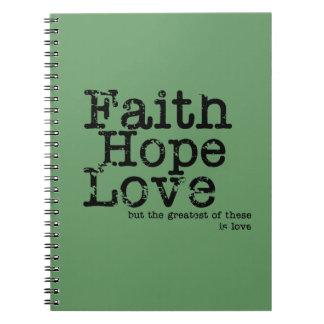 Vintage Faith Hope Love Notebook