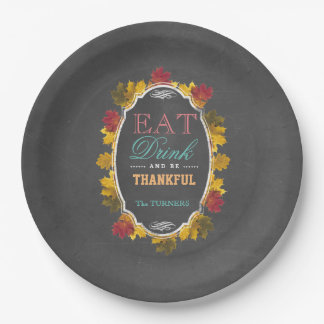 Vintage Fall Chalk EAT DRINK and be THANKFUL Paper Plate