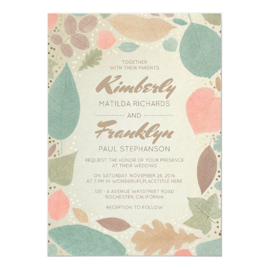Vintage Fall Colourful Leaves Gold Dots Wedding Card