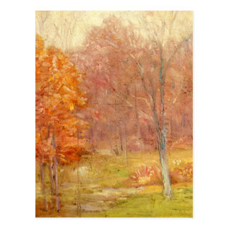 Vintage Fall Forest Painting Postcard
