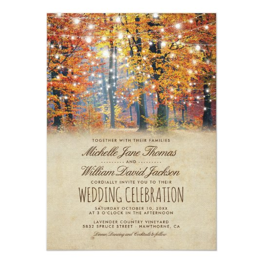 Vintage Fall Rustic Autumn String Lights Wedding Card