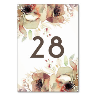 Vintage Fall Watercolor Flowers Wedding Shabby Card