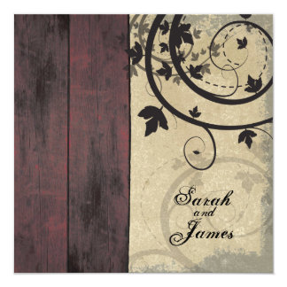 Vintage Fall Wedding Invitation Red Barn Board