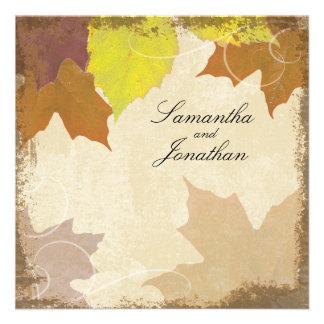 Vintage Fall Wedding Invitation Swirl Leaf Collage