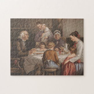 Vintage Family Dinner Prayer Lithograph Jigsaw Puzzle