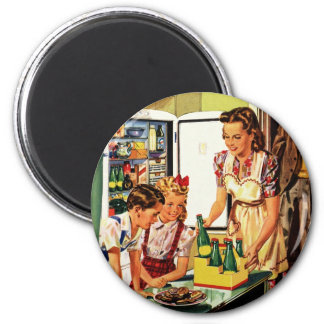 Vintage Family in the Kitchen Mom Dad Kids Snack Magnet