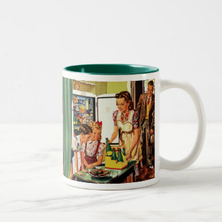Vintage Family in the Kitchen Mom Dad Kids Snack Two-Tone Coffee Mug