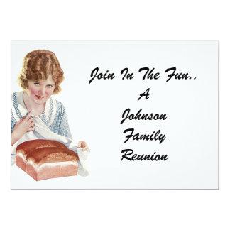 Vintage Family Reunion Happy Bread Lady Invitation