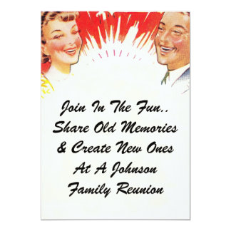 Vintage Family Reunion Happy Couple lol Invitation