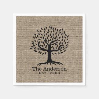 Vintage Family Tree Family Name Rustic Burlap Paper Napkins