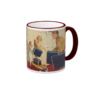 Vintage Family Vacation, Dad Children Suitcases Ringer Coffee Mug