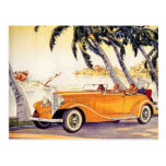 Vintage Family Vacation in a Convertible Car Postcard