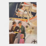 Vintage Family Vacation Via Seaplane w Propellers Hand Towels