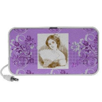 Vintage Fan Lady Purple Floral Swirl2 Mini Speaker