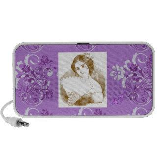 Vintage Fan Lady Purple Floral Swirl Mini Speaker