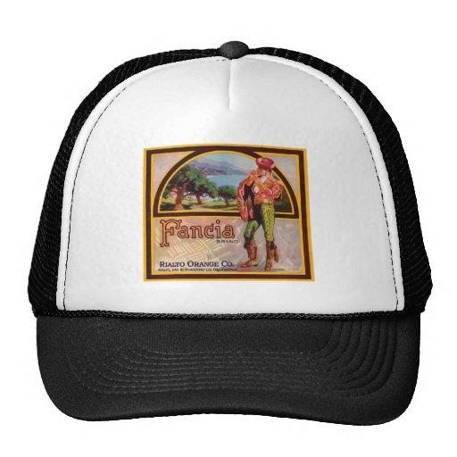 Vintage Fancia Rialto Orange Co. Fruit Crate Label Mesh Hat