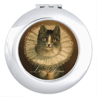 Vintage Fancy Cat in Ruffled Collar Vanity Mirrors